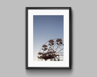 Circus Photography, Ferris Wheel, Minimalist Wall Art Print, Modern Urban Wall Decor, Valentine's Gift For Women, Gift For Girlfriend