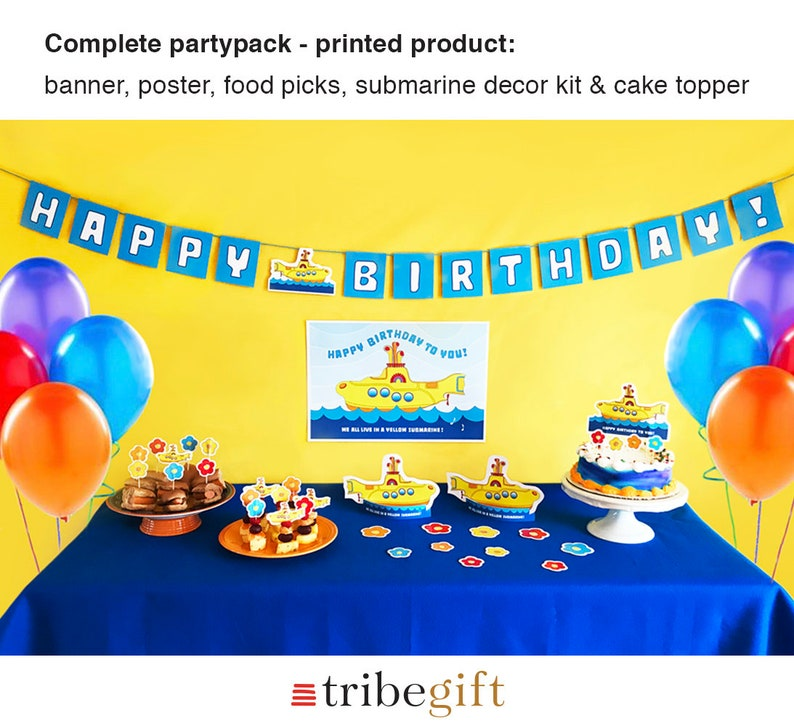 Birthday Party Yellow Submarine Beatles Printed Product Etsy