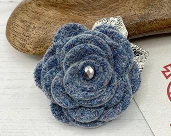 Rose Jewellery Harris Tweed Flower Brooch in Yellow and Grey Spring Brooch Harris Tweed Gift Statement Brooch Harris Tweed Brooch
