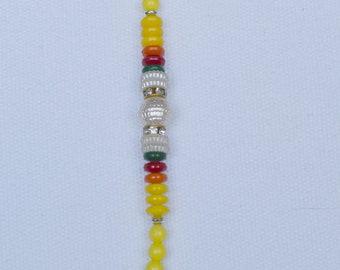 Raksha Bandhan SALE-Rakhi for brother ,Rakhi Bracelet, Moti Stone Beads charm