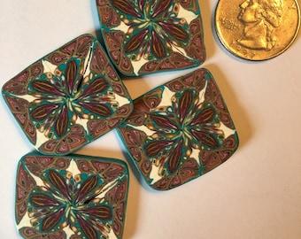 Handmade polymer clay decorative disks