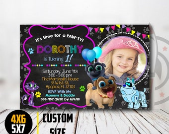 Puppy Dog Pals Birthday Invitation Girl, Puppy Dog Pals Party, Puppy Dog Pals Invitation, Puppy Dog Pals Party Invitations, With Photo