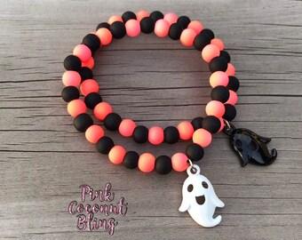 Halloween kid's bracelets | Party favour bracelets |  Beaded kid's jewellery | Ghost bracelet
