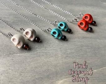 Skull Earrings | Howlite Earings| Small Dangling Skulls | Halloween Jewellery | Skull Chain Earrings