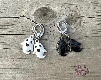 Ghost Earrings | Halloween Jewellery | Stainless Steel Earrings | Small Dangling Ghosts