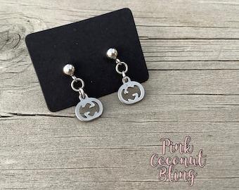 Pumpkin Earrings | Halloween Jewellery | Stainless Steel Earrings | Small Dangling Pumpkins