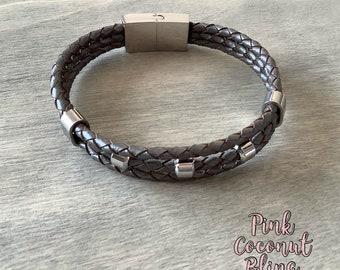 Leather Bracelet   Stainless Steel   Unisex Bracelet