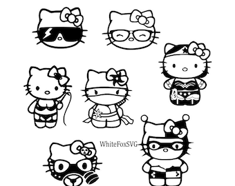 hello kitty tattoo etsy Hello Kitty Birthday hello kitty svg bundle character clip art icons stencil decal wall car stickers print template transfer svg vector file
