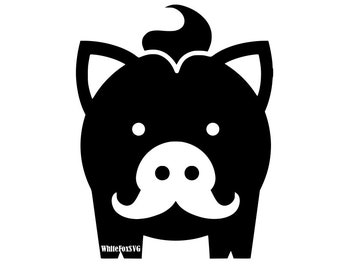 Cute Pig Piglet With Mustache Clip Art Stencil Template Transfer Wall Decal Car Sticker Svg Vector File 107