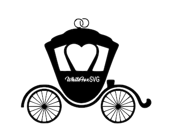 Carriage Svg Cinderella Fairy Godmother Princess Palace Whimsical Stencil Wall Decal Car Sticker Tattoo Template Transfer 773