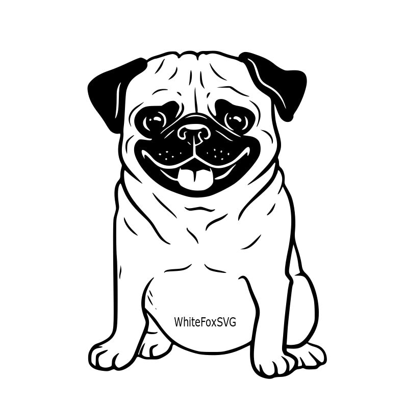 Funny Cute Adorable Pug Puppy Smiling Puppy Svg Dog Svg