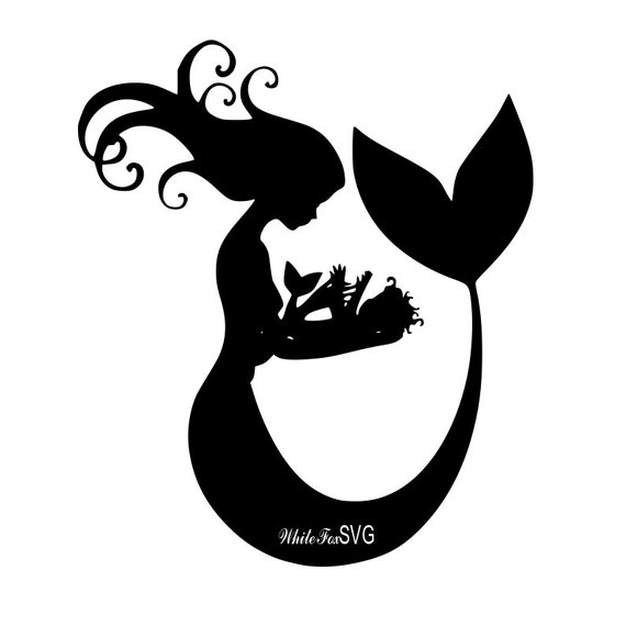 mother and baby mermaids clip art stencil template transfer etsy