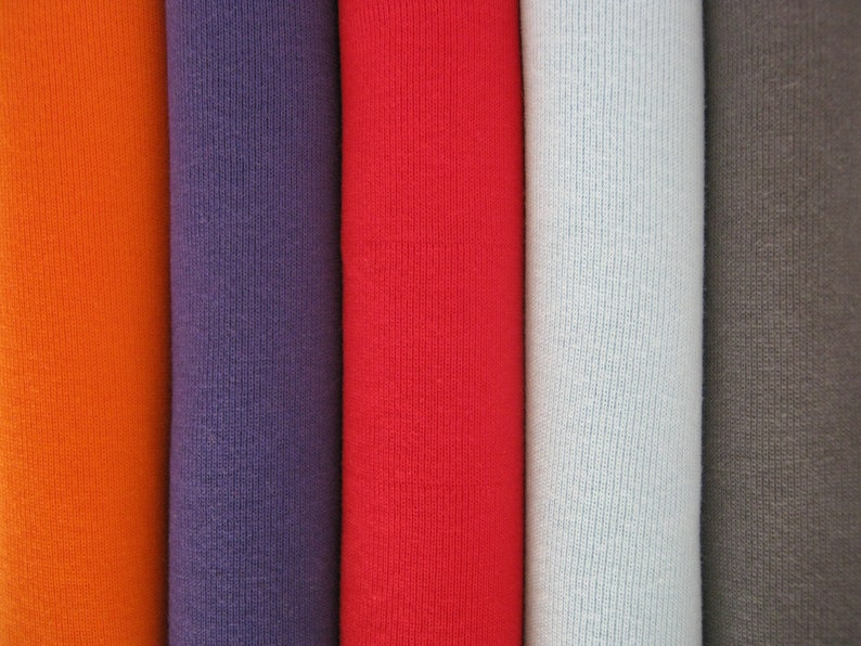 Made in Australia Purple Organic 1x1 RIB KNIT Tubular Ribbing Ribbed Stretch Cuff Bind Binding Eco GOTS Certified 100/% Cotton Fabric