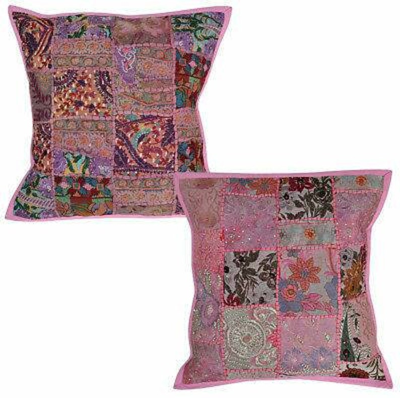 Indian Light fuschia Cushion Covers Pair Patchwork zari Embroidered Square Pillow Cases 18 X 18 inches