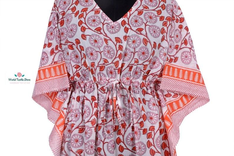 Cotton Long Caftan,Loose Kaftan,Indian Tunic,Beach Maxi Poncho Dress Bohemian Woman/'s hand Block Printed Caftan