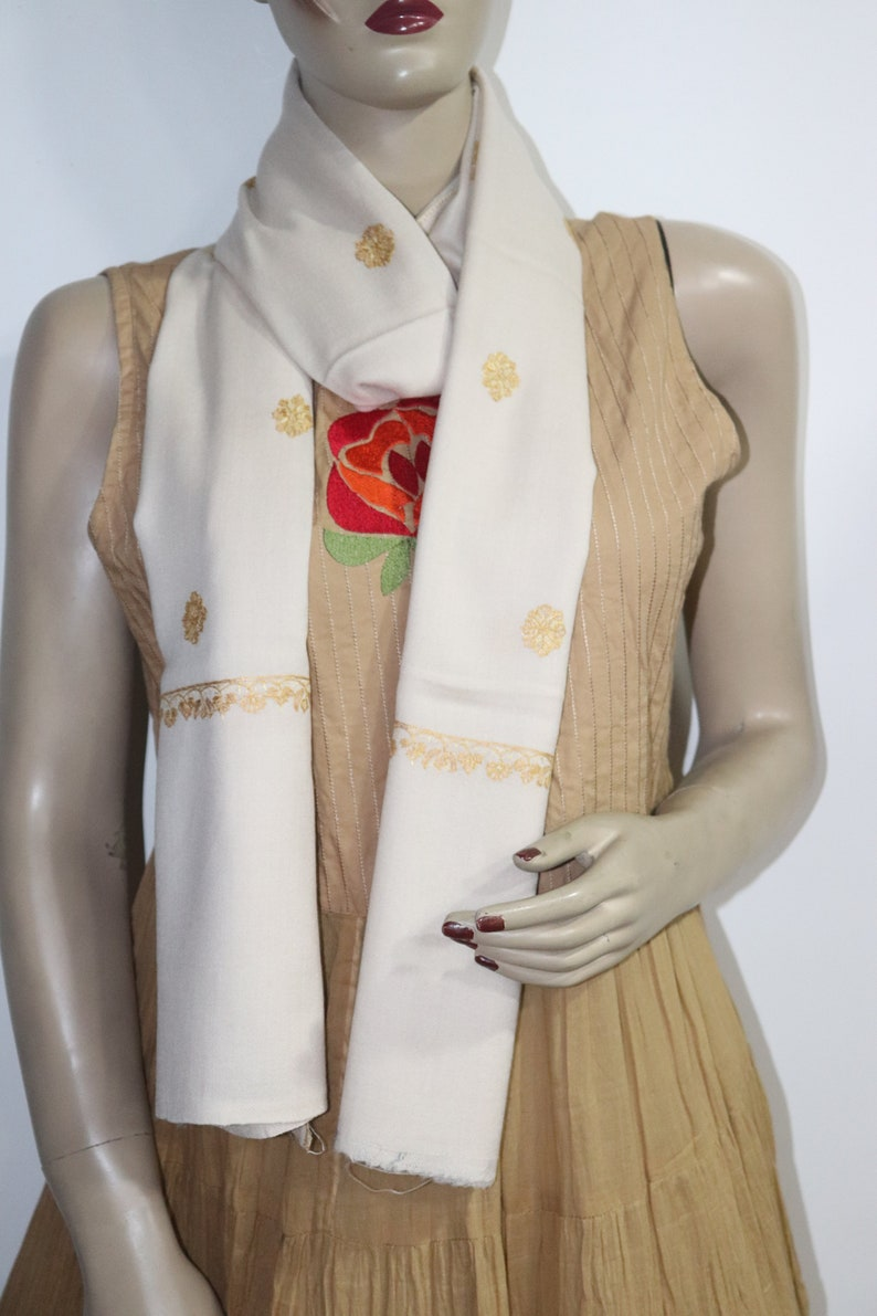 New Trendy ivory and golden Floral Embroidery Pashmina shawl wrap shawl pin size 28 X 80 inches