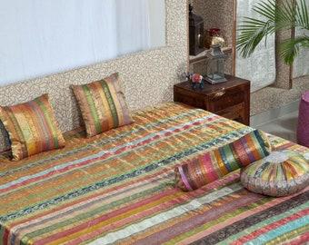 Silk Bedsheet ,Home decor ,Sari Border Bedspread ,Set of pillow and cushions Ethnic bedspread,Bedding,Bedsheet size (90 X 108