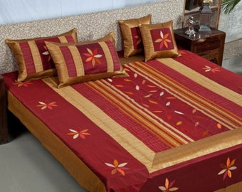 Indian Silk Bedspread Set of pillow and cushions Ethnic bedspread,Bedding, Bed sheet size 90 X 108 inch.