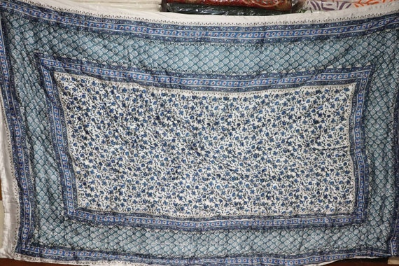 block print size 55 X 85 inches Elegant satin silk Indian Handmade Wood