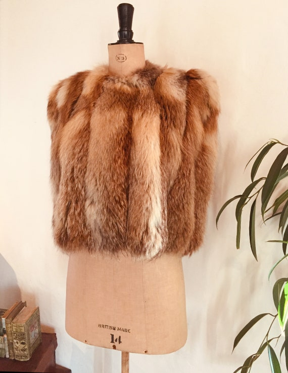 Incredible plush 1940s fox fur evening cape