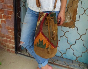 ethnic bucket backpack/ cross body bag