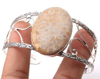 Natural Adjustable Fossil coral Handmade 925 silver plated Gemstone Bangle Y6614
