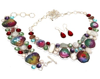 Natural Noreena Jasper Lemon Quartz  Handmade 925 Sterling Silver Necklace /& Bracelets Set Jewelry AA 3103