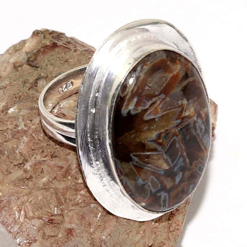 Natural Turkish Stick Agate   Handmade  92.5 Sterling Silver plated Ring Size 8.5 US Jewelry N 7623
