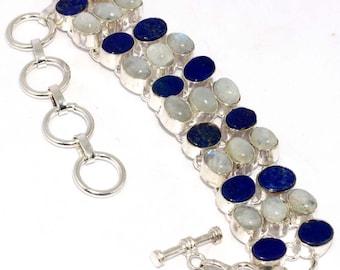 Fairy Rainbow Moonstone , Lapis Lazuli    Handmade  925 Silver plated Bracelet AA 1005