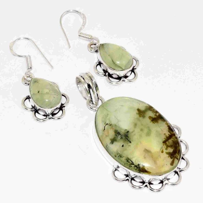 Natural Prehnite   Handmade 925 silver Plated Pendant Earring set Jewelry I 5424