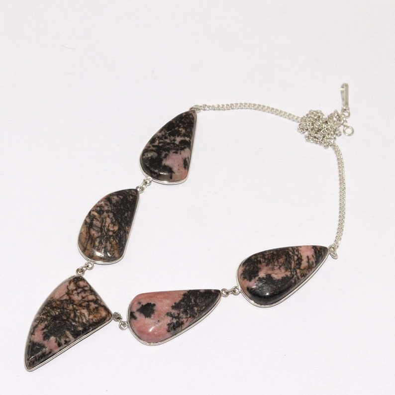 Natural Rhodonite  Handmade 925 Silver Plated Necklace Jewelry  O 7824
