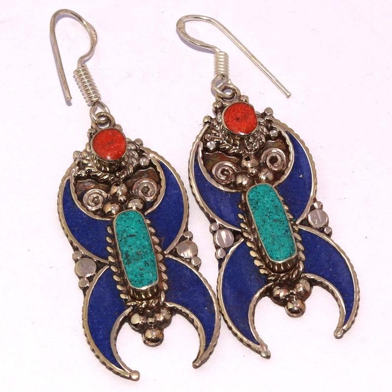 Coral Turquoise Native Tribal Ethnic Jewelry Tibet Tibetan   Handmade 925 Sterling Silver Earrings Jewelry RG 10282