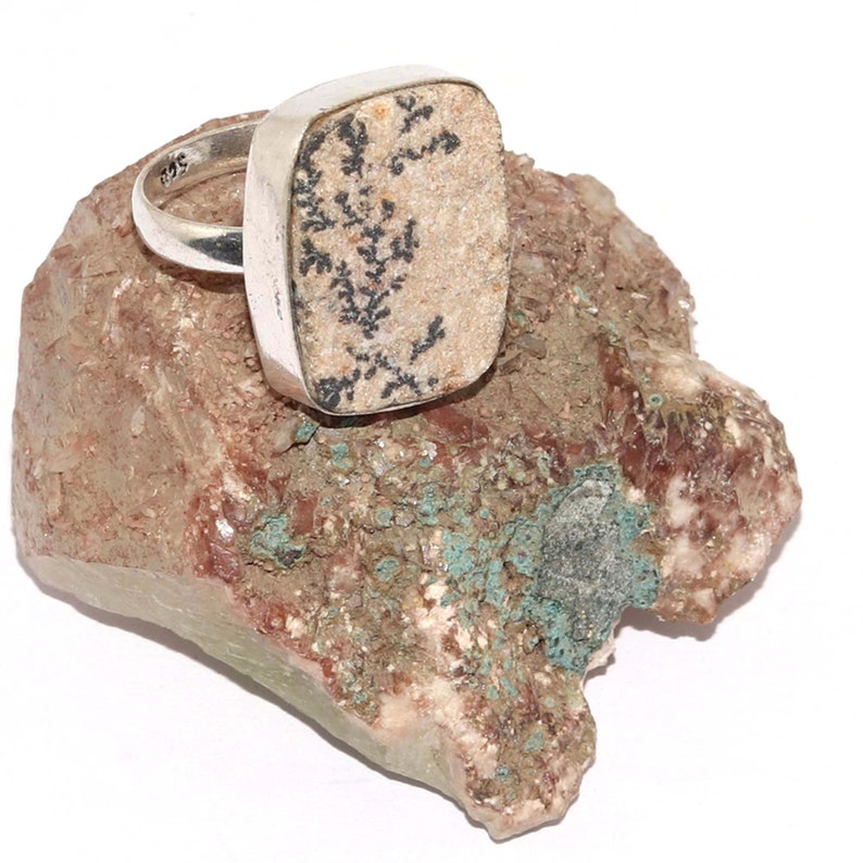 Natural Psilomelane Dendrite German      Handmade  92.5 Sterling Silver plated Ring Size 8 US Jewelry N 7649