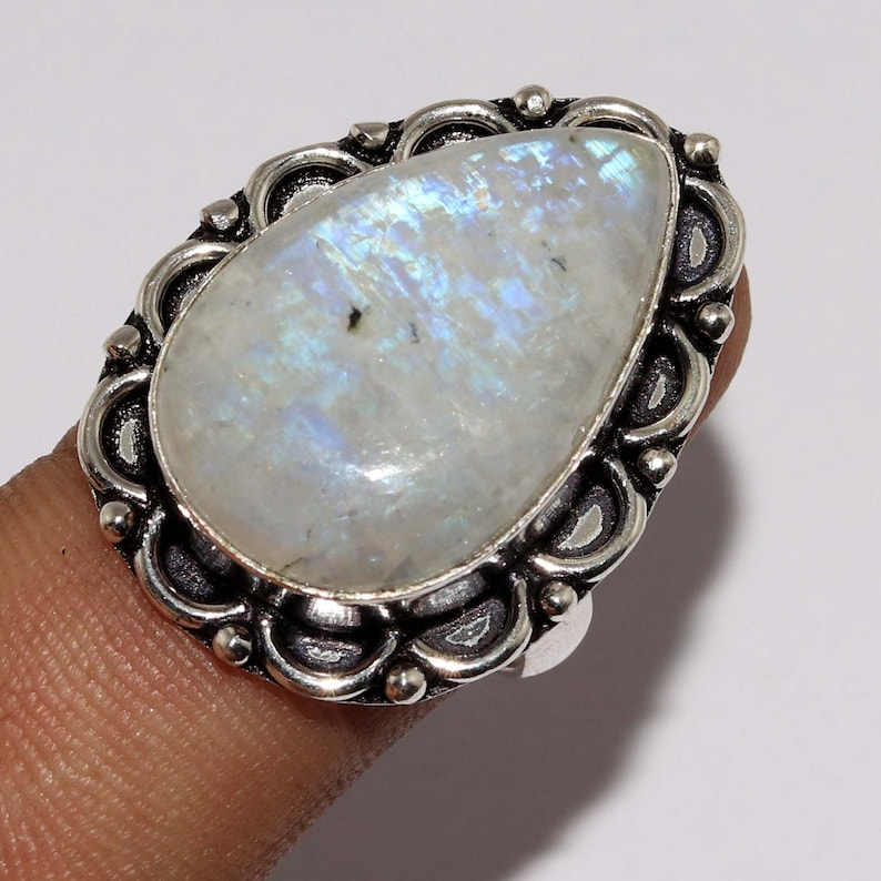 Natural  Rainbow Moonstone  Handmade 925 silver Plated Ring Jewelry Size 9.5 US Jewelry Z 11040