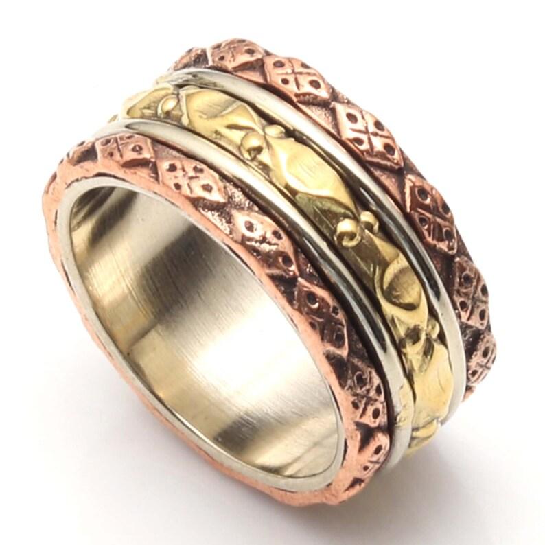 Perfect Gift For Her Ring Size 8 US Spinner Rings For Women Multi Spinner Boho Ring Spinner Meditation Ring Three Tone Spinner Ring