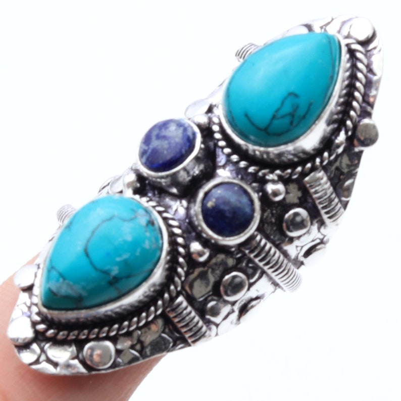 Created Turquoise Lapis Lazuli   Antique Style Setting 925 Sterling Silver Ring Jewelry Ring Size 8.5 US Jewelry Best Gift BP 2556