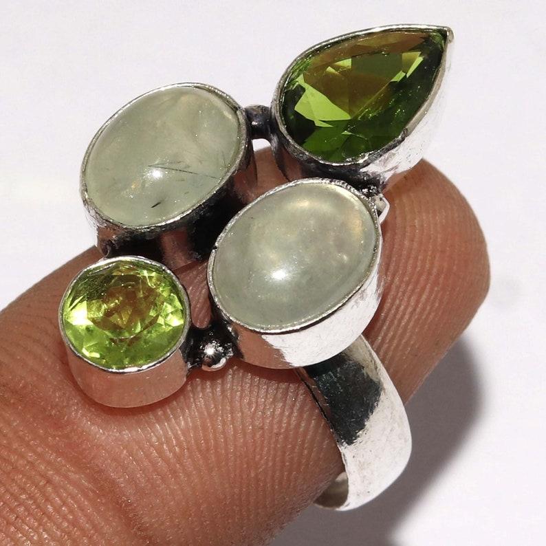 Natural  Moss Prehnite Peridot   Handmade 925 silver Plated Ring Jewelry Size 7.5 US Jewelry Z 11153