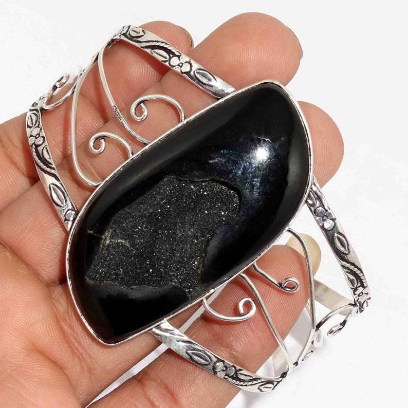 Natural Black Druzy  Adjustable Handmade 925 Silver Plated Adjustable Bangle Jewelry M 7078