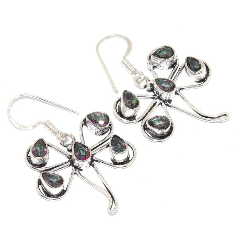 Natural Mystic Topaz  Handmade 925 sterling Silver Plated Earrings Jewelry K 5975