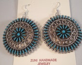 Native American Zuni Handmade Turquoise Needlepoint Cluster Sterling Silver French Hook Large Dangle Earrings