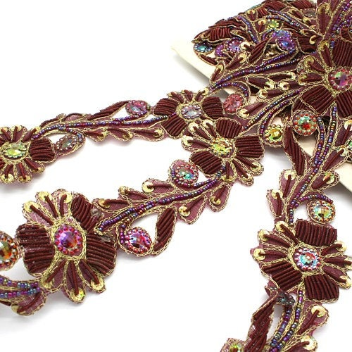 Du sequin marron marron marron strass FLORAL perles garniture, garniture, costume, bordure, pierres, perles, mode, artisanat, couture, embellissement, décoration, vêtements 2fd698