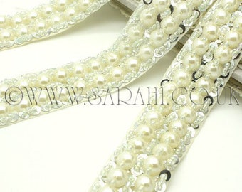 FAUX PEARL SEQUIN beaded trim,trimming,costume, sequin edging,stones, beads,costume,fashion,art,crafts,sewing,embellishment,decoration