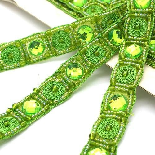 Coupe bordure, perlé de strass vert LIME LIME LIME couture, costume, sequin bordure, pierres, perles, mode, artisanat, couture, décoration, décoration 47a564