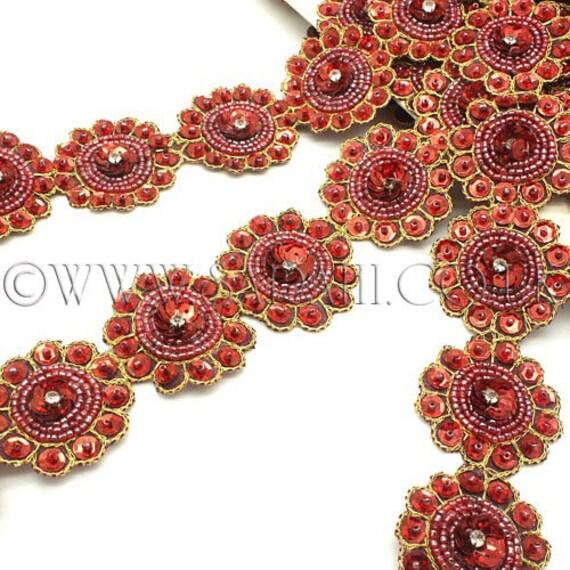 DEEP DEEP DEEP RED MAROON cercle perlé garniture, garniture, costume, sequin bordure, pierres, perles, mode, art, artisanat, couture, décoration, décoration 7eb57e