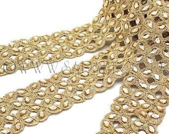 GOLD RHINESTONE beaded trim,trimming,costume,sequin edging,stones,beads,fashion,art,crafts,sewing,embellishment,decoration