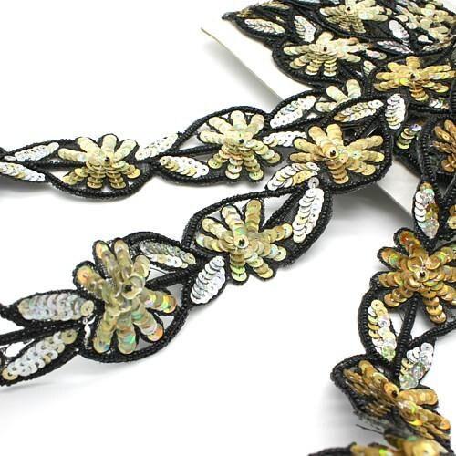 Coupe bordure, perlé d'or argent fleur couture, costume, décoration, sequin bordure, pierres, perles, mode, artisanat, couture, décoration, costume, décoration 3eb91f