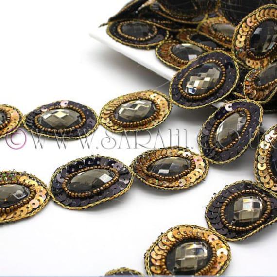 Perles garniture garniture, paillettes strass noir, costume, sequin bordure, pierres, couture, perles, mode, art, artisanat, couture, pierres, décoration, décoration 2ccbaf