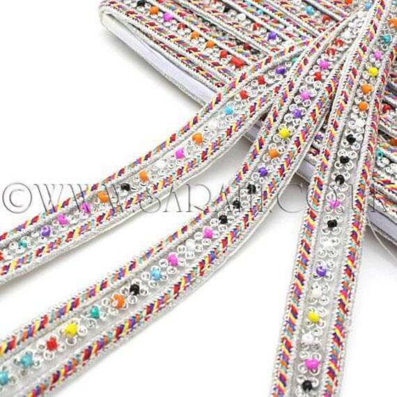 MULTI couleur argent cristal couture perles garniture, garniture, pierres, costume, sequin bordure, pierres, garniture, perles, mode, artisanat, couture, décoration, décoration 829f97