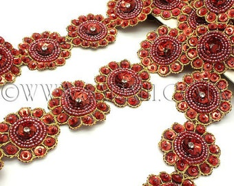 DEEP RED MAROON circle beaded trim,trimming,costume,sequin edging,stones,beads,fashion,art,crafts,sewing,embellishment,decoration