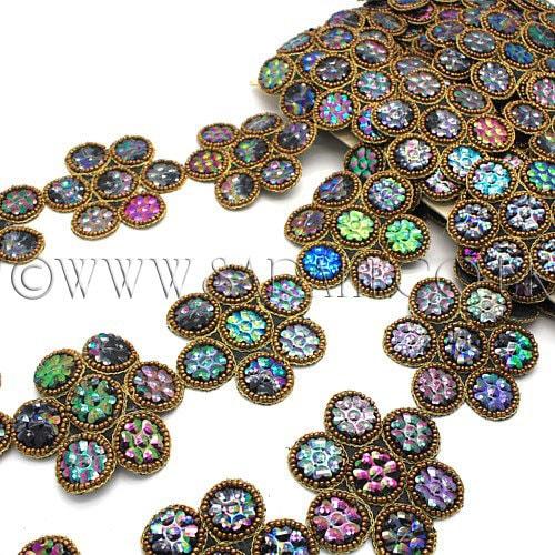 Perles garniture garniture, bijou fleur fleur bijou noir, costume, sequin bordure, pierres, perles, mode, artisanat, couture, décoration, rave, danse du ventre 86598c